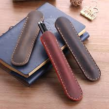Handmade Genuine Leather <b>Pencil Bag</b>, Cowhide Fountain <b>Pen</b> ...