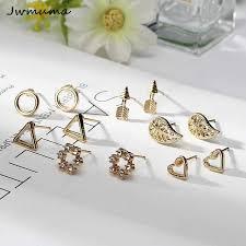 New Popular <b>Pearl</b> Inlaid Earrings Gold And Silver <b>five leaf Flower</b> ...