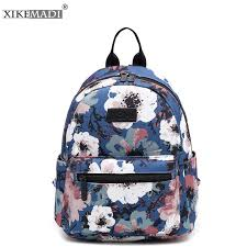 XIKEMADE Simple <b>Canvas</b> Women Backpack <b>Flower Floral Printing</b> ...
