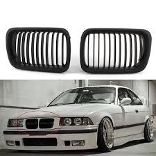 <b>1 Pair</b> Matte <b>Black Front</b> Hood Kidney Grill Grille For BMW 3 Series ...