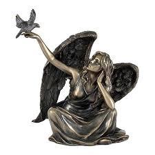 Cтатуэтка Veronese Ангел Сидящий с Голубем 14Х10Х15См ...