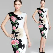 Dinner Dresses <b>Women Elegant Floral</b> Pencil Bodycon Dress Party ...