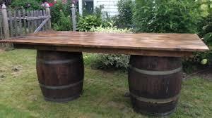 wine barrel outdoor furniture wine barrel table double barrel perfect for hors d39oeuvres beverage station barrel office barrel middot