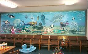 salt water aquarium mural for aquarium office