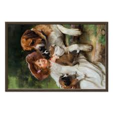 <b>Холст 50</b>×<b>75</b> Девочка, собака и щенята #2305690 от Apfelbaum