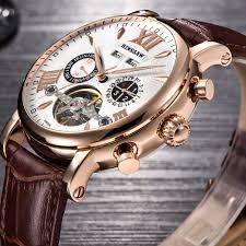 BINSSAW <b>Men Tourbillon</b> Automatic Mechanical Watch Leather ...