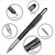 Black Multi Tool Tech <b>Ballpoint Pen</b> 6 in 1 Spirit Level <b>Screwdriver</b> ...