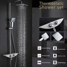 thermostatic brand bathroom: adjustable wall mounted brass thermostatic chrome shower panel faucet bathroom set adjustable height shower head for
