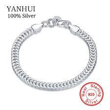 <b>YANHUI</b> Men Women Silver Bracelet Fine Jewelry <b>Original Solid</b> ...