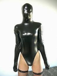 <b>Sexy</b> Metallic Black <b>Half Body</b> lycra spandex zentai catsuit with hood ...