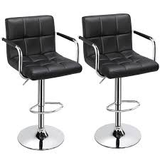 Adjustable Black Bar Stools, Set of 2, <b>Faux Leather</b>, <b>Modern</b> with ...