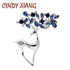 <b>CINDY XIANG 2 Colors</b> Available Rhinestone Deer Brooches for ...