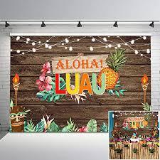 NeoBack Hawaiian Luau Party Backdrop Aloha Vintage Wood ...