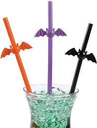 Fun Express - Plastic <b>Bat</b> Shaped Straws for <b>Halloween</b> - Party ...