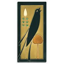 4x8 <b>Songbird</b> (Facing Right) - <b>Golden</b> | Motawi Tileworks