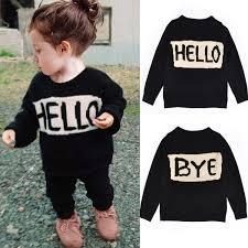 Cute Baby <b>Girls</b> Boys Hello <b>Letter</b> Style Sweaters Kids Long Sleeved ...