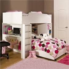 bunk bed office underneath 2 bunk beds with desk for girls room bed office