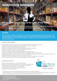 careers the factory outlet warehouse manager