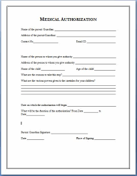 medical authorization form template permission letter for medical treatment