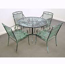 vintage mid century modern wrought iron patio dining set table chairs salterini black wrought iron patio