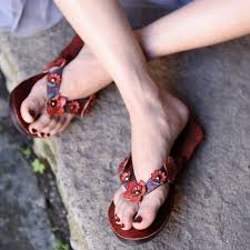 <b>Artmu Original Flower</b> Flat Sole Genuine Leather Women Slippers ...