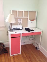 lovely ikea micke desk in white and pink theme with storage and hutch for study room chic ikea micke desk white