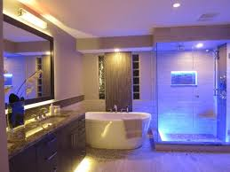 amazing bathroom lighting ideas with luxurious led lamp above the rectangular mirror and futuristic shower stall amazing amazing bathroom lighting ideas picture