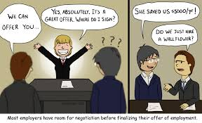 an article for new graduates in transition the multiplier the multiplier benefit of salary negotiation improved wallflower cartoon