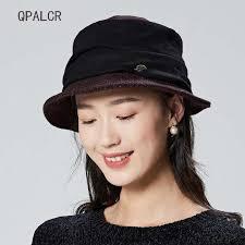 Hat Ladies Foldable Top <b>Elegant Casual</b> Wool Blend Bucket Hats ...