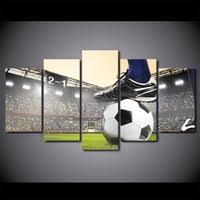 5 Panel Soccer Match Football Course <b>Canvas HD</b> Printed Poster ...