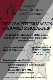 cssc general scholarship applications college of social sciences rosa pfeifer isacson endowed scholarship application