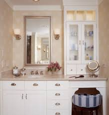dual vanity bathroom: pretty makeup vanitiesin bathroom traditional with beguiling dual vanity with makeup counter next to attractive shallow depth cabinets alongside handsome
