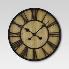 Industrial <b>Retro Wood</b> Gear <b>Wall Clock</b> Roman Numerals ...