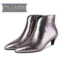 <b>MLJUESE 2019 women ankle</b> boots Cow leather zippers Gun color ...