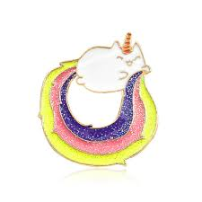 2019 New <b>Cartoon</b> Rainbow <b>Cat</b> Coat <b>Pins</b> With <b>Glitter</b> From ...