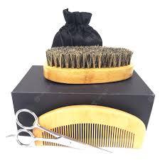 Wood Beard Brush Comb Shaving Scissors Clean Styling Set Sale ...