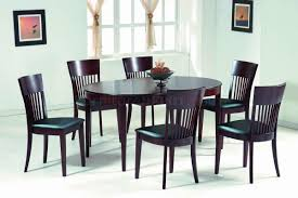 oval dining table art deco: dark walnut modern oval dining table w optional chairs nsds