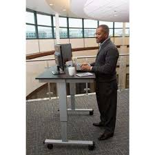 electric standing desk in silver frame black oak top amazing home depot office chairs 4 modern
