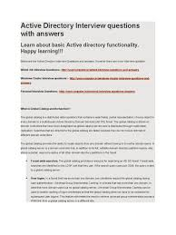 active directory interview questions answers