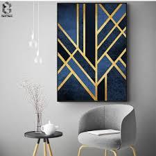 <b>Classic</b> Linear <b>Geometric Canvas</b> Painting Wall Art Posters and ...
