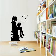 <b>Girl Reading</b> Books Magic Wall Art Decal Libraries Wall Decor ...