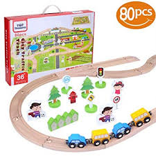 80 Piece Wooden Train Set | Includes Toy Trains, Play ... - Amazon.com