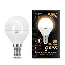 <b>105101110 Gauss LED</b> Globe E14 9.5W 3000K 1/10/50 купить за ...