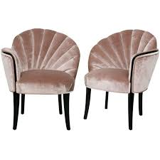 pair of 1920s art deco shell back boudoir chairs from a unique collection of antique art deco chairs