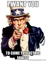 i want you to come to electric forest - Uncle Sam Point | Meme ... via Relatably.com