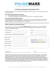 Recurring Payment Authorization Form- phoneware ach authorization form - PHONEWARE Cloud. Recurring Payment Authorization ...