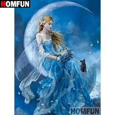 "HOMFUN 5D DIY Diamond Painting <b>Full</b> Square/<b>Round Drill</b> ""Moon ..."