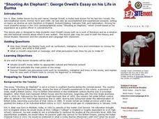 shooting an elephant quot   george orwell    s essay on his life in burma     quot shooting an elephant quot   george orwell    s essay on his life in burma lesson plan