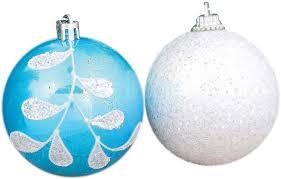 """<b>Набор елочных шаров</b> """"Веточка """", цвет: белый, голубой, диаметр ..."""