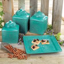 Turquoise Kitchen Turquoise Kitchen Canister Set And Platter